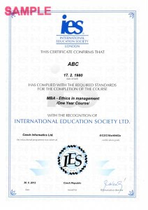 Certifikát MBA IES